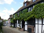 Mermaid Street in Rye (3 miles away) is one of the prettiest cobbled streets in the UK.