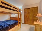 2nd bedroom with queen over queen bunk bed and twin trundle