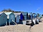 Beach huts on Abersoch beach.