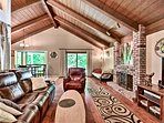 With cathedral ceilings, the living room is both warm and inviting.