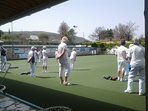 one of the local bowling clubs, one Sunday morning, in winter.  Its lovely to bowl in the sun.