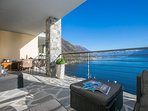 Terrace with garden furniture to enjoy view of the lake