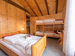 Secondary bedroom with double bed, bank bed