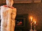 Beautiful wood burning fireplace. Wood provided.