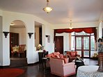 The spacious living area with comfortable furnishings for you and your group