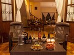 Have a drink at the attached patio of this Holiday Villa in South Goa
