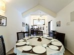 Dining area on the first-floor, set up for a sit-down dinner by our villa staff