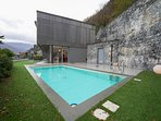 Private swimming pool with view of the lake