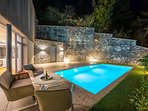 Blue hour photo of the villa swimming pool