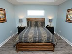 The master bedroom. All queen sized mattresses are upgraded pillow-top mattresses
