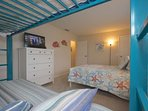 Let the Kids or Guests Wind Down after a Fun Filled Beach Day in this Lovely Guest Bedroom Twin Bunk Beds, Full Bed...