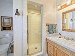 The second en-suite bathroom offers a walk-in shower.