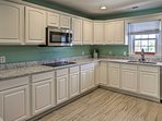 The open kitchen provides plenty of space for entertaining.