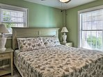 The first bedroom offers a king bed.
