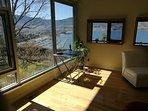 View from master bedroom into Okanagan Lake.