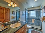 The home offers 3 bathrooms for guests to use.