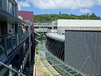 Internal courtyard area of the complex with Mt Eden in the background