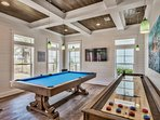 Pool table and shuffleboard in HUGE 43 X 17 main room, gather everyone in heart of the home