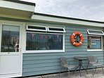 Beautifully decorated chalet, inside and out in seaside style.
