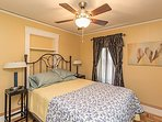 2nd floor bed room with comfortable queen size bed and room darkening shades.