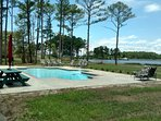 Six feet deep heated pool on waterfront with lounge chaises & tables. Bird watchers paradise.