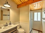 The loft bathroom has a walk-in shower.