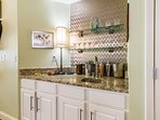 Classy wet bar for mixing your favorite beverage.