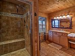 Enjoy a relaxing rinse in the large  shower.