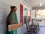 welcome bear on the front porch
