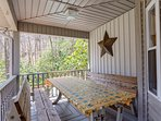 picnic table on side porch