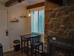 Fireplace and Dining Nook Night Time Lighting