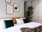 King size bed in quiet bedroom