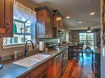 The space features stainless steel appliances.