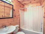 After a long hike, enjoy a soak in the second shower/tub combo.