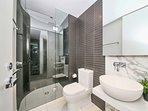 A warm & comfy bathroom.