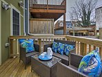 Enjoy a meal alfresco on the furnished deck.