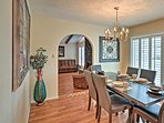 Savor meals at the formal dining room table.