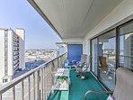 Enjoy a meal alfresco on the furnished balcony.