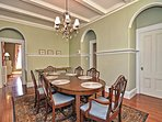 The formal dining room, with the view into the parlor.