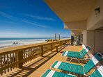 Newly rebuilt sundeck provides ocean views and seating while enjoying the beach