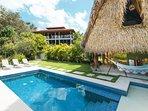 Pool, cabana and main home