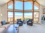 Enchanting ocean views, and cathedral ceilings provide endless enjoyment.