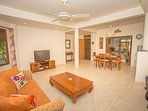 Living area of the large 1 bedroom apartment has ample room