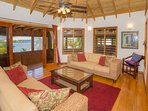 Comfortable sitting area with views of Gibson Bight from the main house living area
