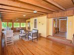 This screened-in porch is just off the living area off the main house