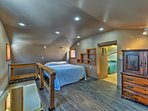 The lofted space provides a queen-sized bed for 2.