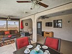 Keep cool under the ceiling fan while sipping your choice beverage.