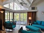 Living room looks onto verandah