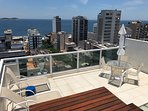 Private roof top terrace with panoramic views of ocean and Ipanema.
