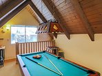 Pool table located in upstairs loft.